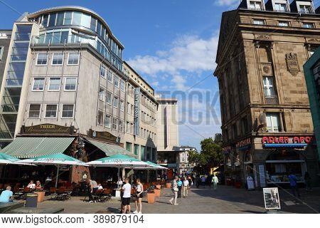 Dortmund, Germany - September 16, 2020: People Visit Markt, Main City Square In Dortmund, Germany. D