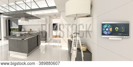 Home automation control station in the kitchen of a modern home 3D rendering