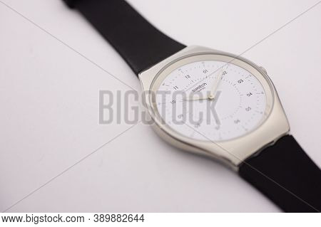 London, Gb 07.10.2020 - Swatch Swiss Made Quartz Watch Isolated On White Background. Metal Case. Swa