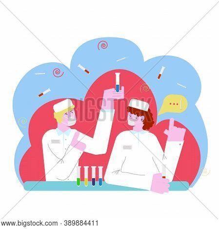 Coronavirus Antivirus Medical Research Vector Illustration, People, Doctors, Team Working In A Scien