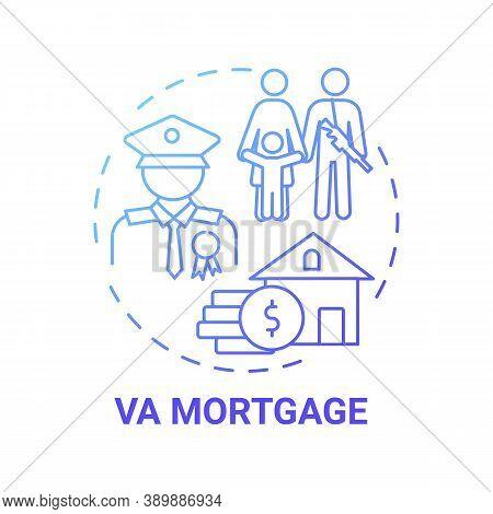 Va Mortgage Concept Icon. Veterans Affairs Type Idea Thin Line Illustration. Va-backed Home Loan. Mo