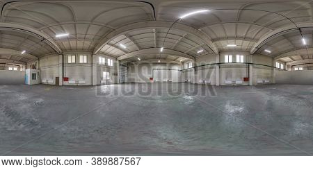 Full Seamless Spherical Hdri Panorama 360 Degrees In Interior Of Large Empty Room As Warehouse Or Ha