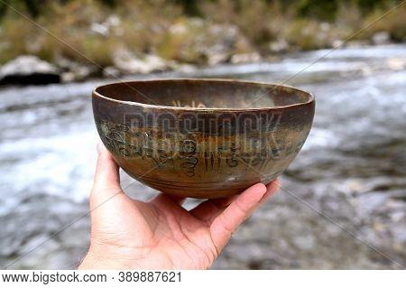 Tibetan Singing Bowl. Translation Of Mantras. Transform Your Impure Body, Speech And Mind