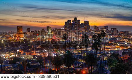 View of evening Los Angeles from above