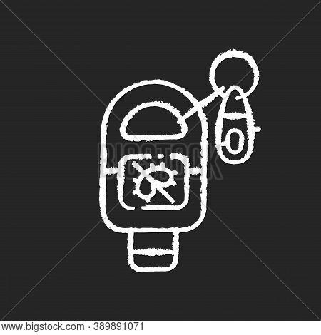 Keyring Sanitizer Chalk White Icon On Black Background. Keychain Holder For Tube With Liquid Soap. P