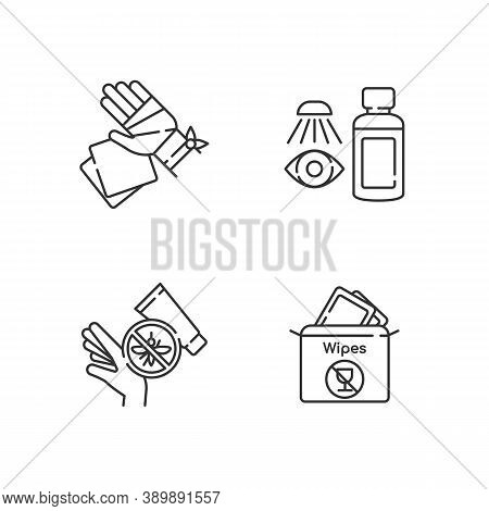 Emergency Medical Kit Linear Icons Set. Gauze Bandage And Pads. Eyewash Cleanser. Insect Bite Cream.