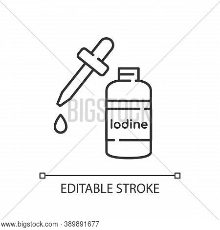 Iodine Linear Icon. Fluid Cleanser In Bottle. Treatment For Wound. First Aid Supplement. Thin Line C