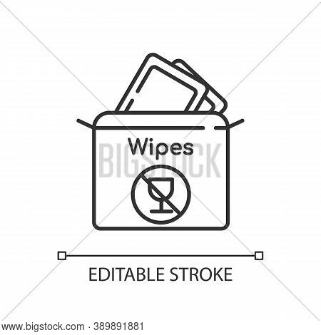 Alcohol Free Wipes Linear Icon. Disinfectant Paper Towels. Sanitation Tissues For Hygiene. Thin Line