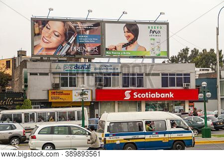 Lima, Peru - December 4, 2008: Busy Street Scene With Cars And Buses Along Scotia Bank, Kodak Photos