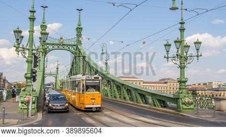 Budapest, Hungary - July 21, 2015: Historic Tram At The Liberty Bridge In Budapest Hungary