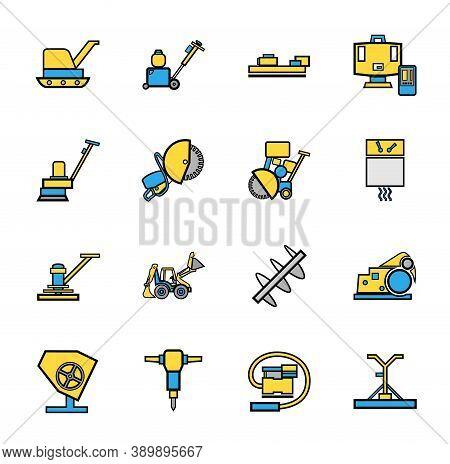 Construction Equipment For Concrete, Icons, Set, Color. Color Flat Images With A Black Outline. Equi