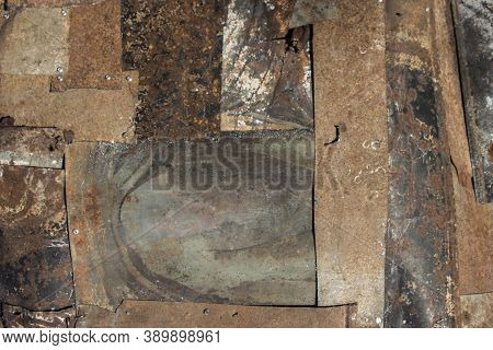 Rusty Metal Patches With Rivets, Texture Of Old Metal With Rivets, Rusty Weathered Metal Patches, Ab
