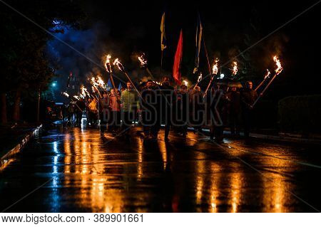 Dolyna, Ukraine: October 14, 2020 Peaceful Action Of The Political Party Svoboda. Many People Walk T