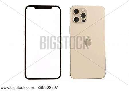 Loei , Thailand, 28 Sep 2020 : New Iphone 12 Pro Max Front And Back Side Mock Up With White Screen.