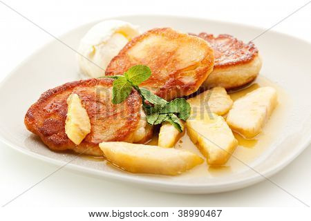 Thick Pancake with Pear and Ice Cream poster