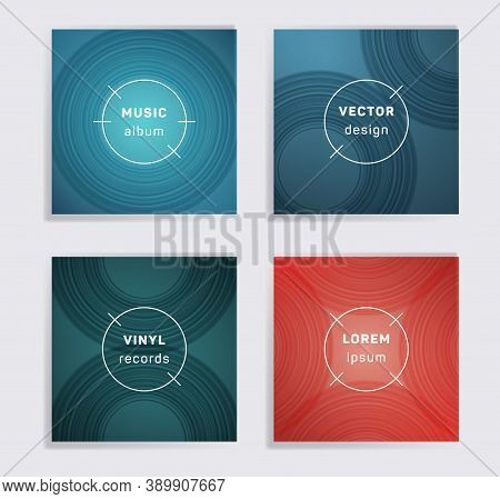 Digital Vinyl Records Music Album Covers Set. Semicircle Curve Lines Patterns. Dynamic Creative Viny