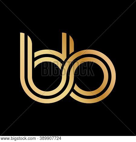 Lowercase Letters B And B. Flat Bound Design In A Golden Hue For A Logo, Brand, Or Logo. Vector Illu