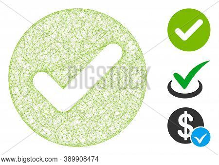 Mesh Accept Polygonal Web Symbol Vector Illustration. Model Is Based On Accept Flat Icon. Triangle M