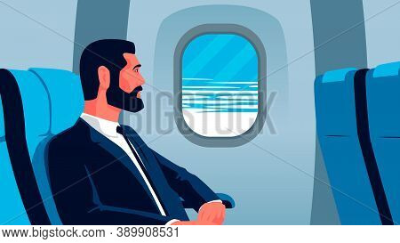 Vector Flat Illustration Of A Businessman On The Plane Looking Out The Window. Bearded Man In Suit O