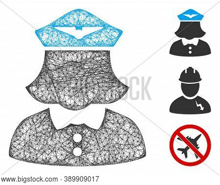 Mesh Airline Stewardess Polygonal Web Icon Vector Illustration. Model Is Created From Airline Stewar