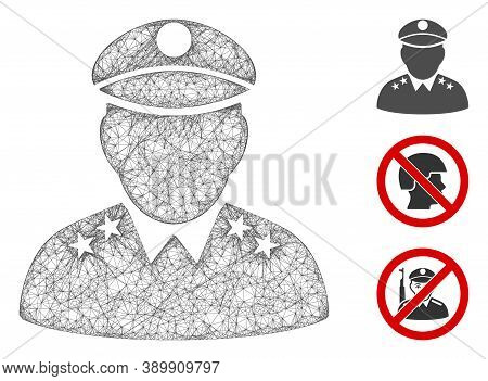 Mesh Army General Polygonal Web Icon Vector Illustration. Model Is Based On Army General Flat Icon.
