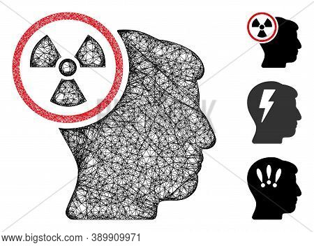 Mesh Atomic Thinking Head Polygonal Web Icon Vector Illustration. Model Is Created From Atomic Think