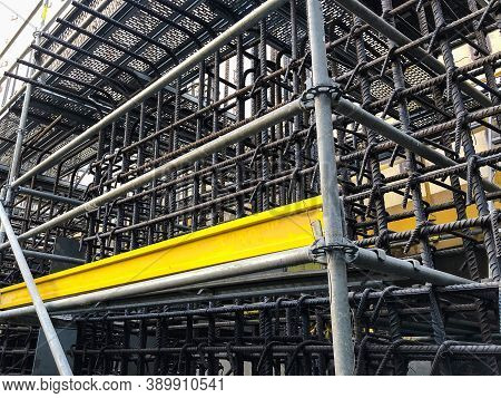 Metal Reinforcement Framework And Scaffoldings At Construction Site