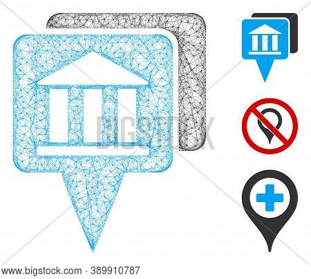 Mesh Bank Map Pointers Polygonal Web Icon Vector Illustration. Model Is Based On Bank Map Pointers F