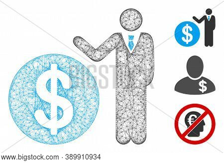 Mesh Banker Polygonal Web Icon Vector Illustration. Carcass Model Is Based On Banker Flat Icon. Tria