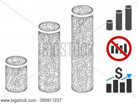 Mesh Bar Chart Cylinders Polygonal Web 2d Vector Illustration. Carcass Model Is Based On Bar Chart C