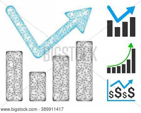 Mesh Bar Chart Trend Polygonal Web Icon Vector Illustration. Carcass Model Is Based On Bar Chart Tre