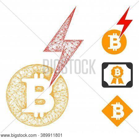Mesh Bitcoin Lightning Strike Polygonal Web Icon Vector Illustration. Model Is Based On Bitcoin Ligh
