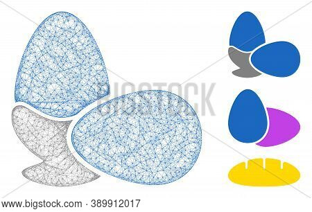 Mesh Boiled Eggs Polygonal Web Icon Vector Illustration. Carcass Model Is Based On Boiled Eggs Flat
