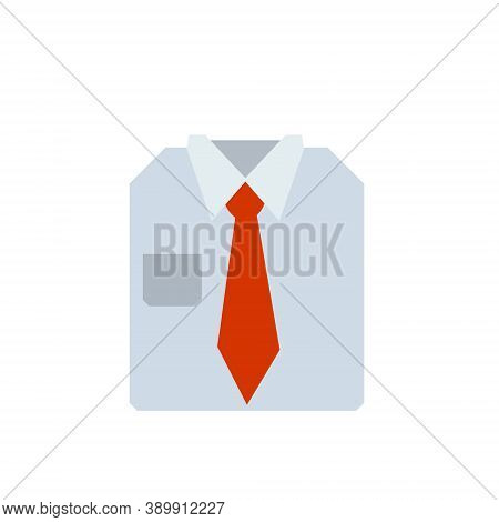 Red Tie And Shirt Collar. Folded Business Clothes. Business Style. Flat Cartoon Illustration Isolate