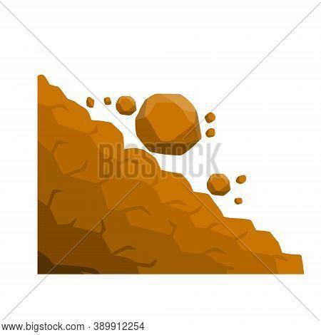 Rock Rolls Off A Cliff. Falling Boulders. Rockfall And Landslide