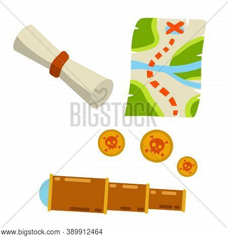 Set Of Pirate. Treasure Map And Gold Coins. Treasure And A Telescope. Roll Of Paper And Papyrus. Sea