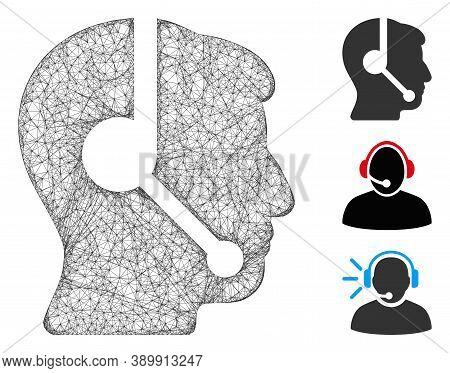 Mesh Call Center Operator Polygonal Web Icon Vector Illustration. Carcass Model Is Based On Call Cen