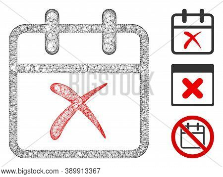 Mesh Cancel Day Polygonal Web Icon Vector Illustration. Carcass Model Is Based On Cancel Day Flat Ic