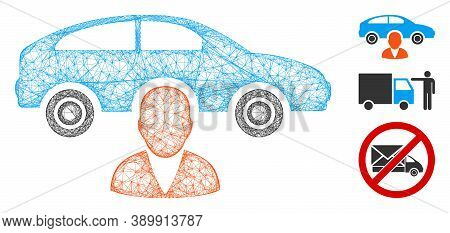 Mesh Car Owner Polygonal Web Icon Vector Illustration. Model Is Based On Car Owner Flat Icon. Triang