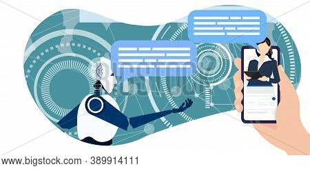 Online Chat With Artificial Intelligence. Voice Assistant That Is Installed In The Mobile Browser. H