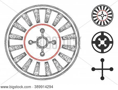 Mesh Casino Roulette Polygonal Web Icon Vector Illustration. Carcass Model Is Based On Casino Roulet