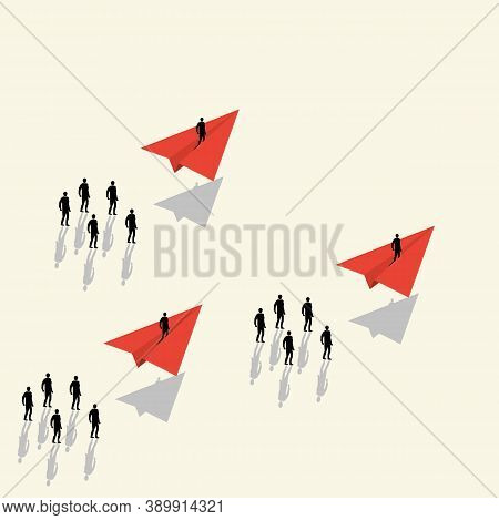 Vector Concept Of Business Opportunities Or Obstacles. A Businessman Is Flying On An Airplane. Coura