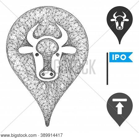 Mesh Cattle Marker Polygonal Web 2d Vector Illustration. Abstraction Is Based On Cattle Marker Flat