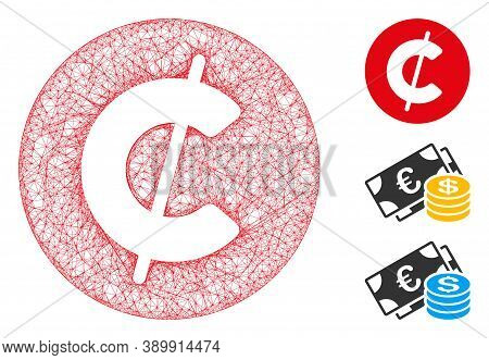Mesh Cent Coin Polygonal Web 2d Vector Illustration. Carcass Model Is Based On Cent Coin Flat Icon.
