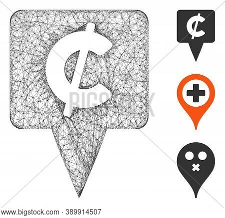 Mesh Cent Map Pointer Polygonal Web Icon Vector Illustration. Model Is Based On Cent Map Pointer Fla
