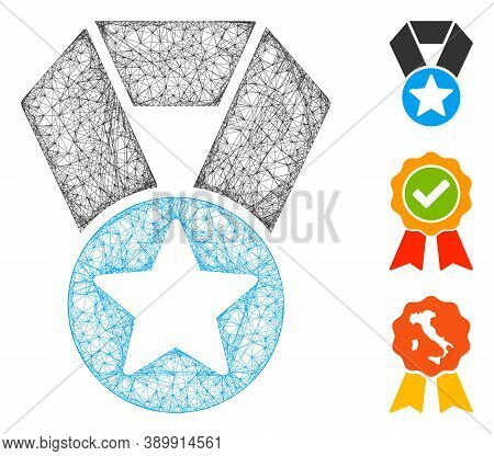 Mesh Champion Medal Polygonal Web Icon Vector Illustration. Carcass Model Is Based On Champion Medal