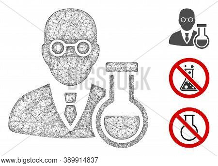 Mesh Chemist Polygonal Web Icon Vector Illustration. Model Is Based On Chemist Flat Icon. Triangle N