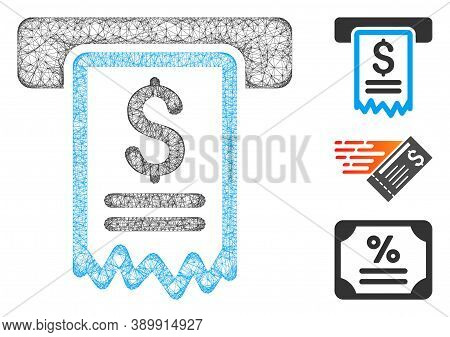 Mesh Cheque Payment Polygonal Web 2d Vector Illustration. Model Is Based On Cheque Payment Flat Icon