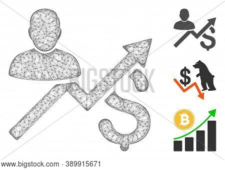 Mesh Client Sales Chart Polygonal Web Icon Vector Illustration. Carcass Model Is Based On Client Sal