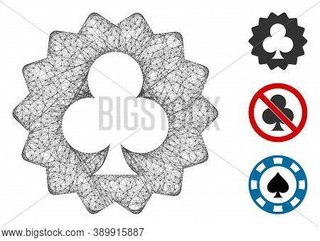 Mesh Clubs Token Polygonal Web Symbol Vector Illustration. Carcass Model Is Based On Clubs Token Fla
